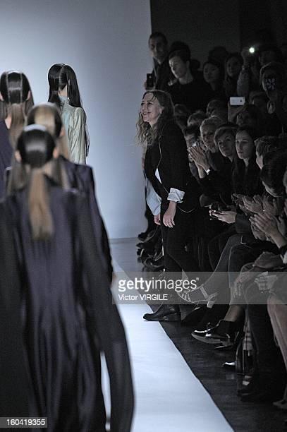 Belgian fashion designer Ann Demeulemeester walks the runway during the Ann Demeulemeester Spring / Summer 2013 show as part of Paris Fashion Week at...