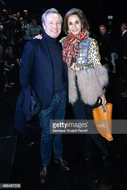 Belgian fashion designer Edouard Vermeulen and Nati Abascal attend the Elie Saab show as part of the Paris Fashion Week Womenswear Fall/Winter...