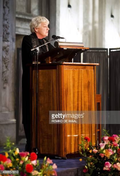 Belgian festival director and curator Frie Leysen delivers a speech after she was awarded with the 2014 Erasmus Prize by the Praemium Erasmianum...