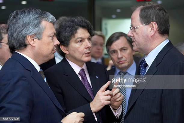 Belgian Finance Minister Didier Reynders French Finance Minister Thierry Breton Luxembourg Economy Minister Jeannot Krecke and German Finance...