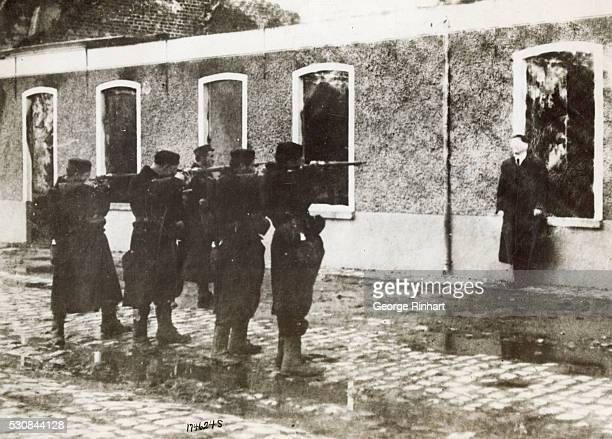 Belgian Firing Squad Shooting German Spy Shooting a German spy caught near Termondo He was blindfolded led out at dawn and executed by the firing...
