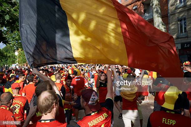 Belgian flag is displayed by supporters from Belgium in Toulouse. Supporters from Belgium and Hungary came to Toulouse and its Municipal stadium for...