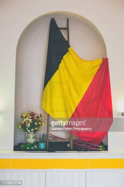 belgian flag - drapeau belge photos et images de collection