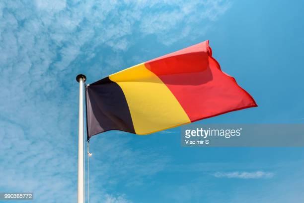 belgian flag - belgië stockfoto's en -beelden