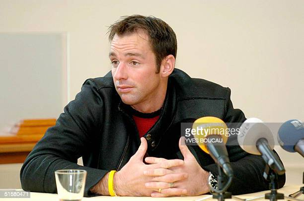 Belgian football player Bart Goor playing for Dutch side Feyenoord gives a news conference 27 October 2004 in Antwerp on the fivematch suspension he...