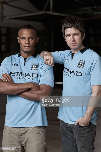 Belgian footballer and Manchester City captain Vincent Kompany with Noel Gallagher of British rock group Oasis 2nd July 2012