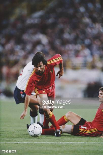 Belgian footballer Eric Gerets starts a run with the ball during the Round of 16 match between England and Belgium in the 1990 FIFA World Cup at the...