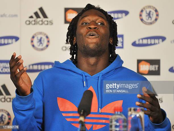 Belgian footballer Romelu Lukaku speaks during a press conference at the Chelsea football club training ground in Surrey, in south-east England, on...