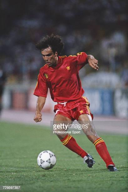 Belgian footballer Stephane Demol makes a run with the ball during the Round of 16 match between England and Belgium in the 1990 FIFA World Cup at...