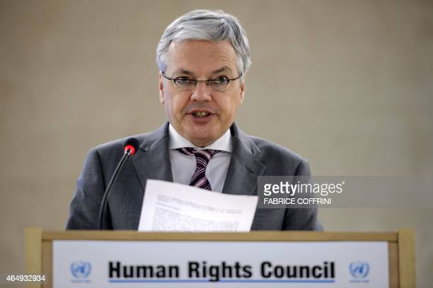 Belgian foreign minister Didier Reynders delivers a speech before delegates on March 2 2015 at the opening day of UN human rights council session at...