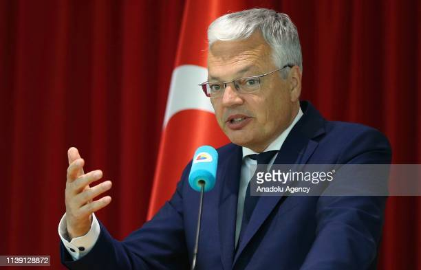 Belgian Foreign Minister Didier Reynders speaks at a conference held by Turkish Business Association to evaluate bilateral and business relations...