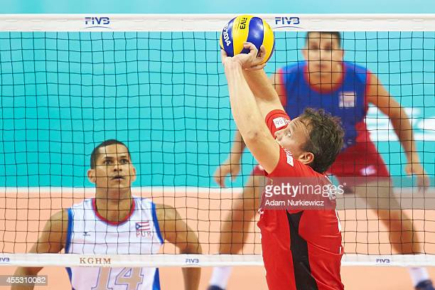 Belgian Frank Depestele receives the ball during the FIVB World Championships match between Belgium and Puerto Rico at Cracow Arena on September 2,...