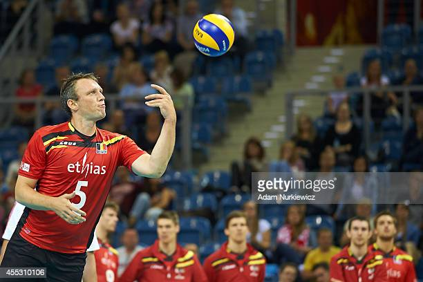 Belgian Frank Depestele serves the ball during the FIVB World Championships match between Belgium and Puerto Rico at Cracow Arena on September 2,...