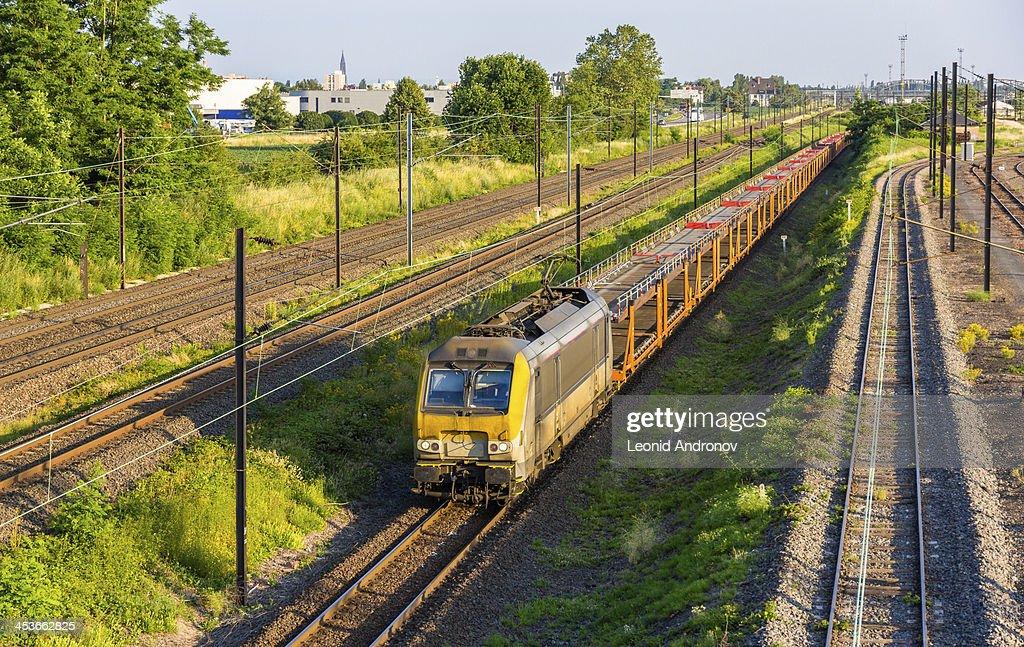 Belgian freight train in Strasbourg, Alsace, France