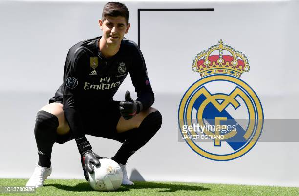 Belgian goalkeeper Thibaut Courtois poses during his presentation as new player of Real Madrid football team, at the Santiago Bernabeu stadium in...