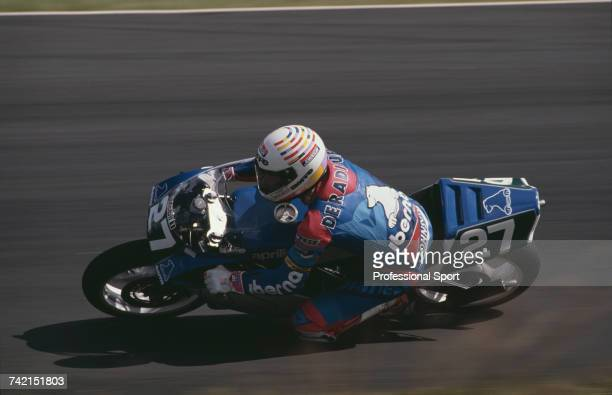Belgian Grand Prix motorcycle road racer Didier de Radigues rides the 250cc Aprilia RS250 to finish in 17th place in the 1990 Swedish motorcycle...