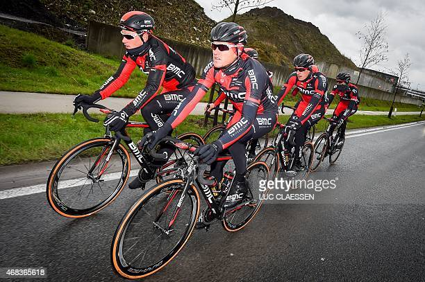 Belgian Greg Van Avermaet of BMC Racing Team Swiss Silvan Dillier of BMC Racing Team and German Marcus Burghardt of BMC Racing Team pictured in...
