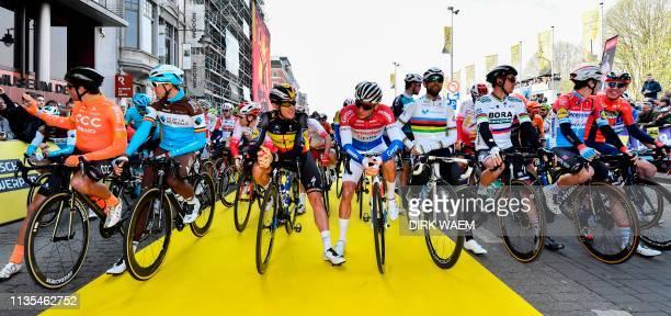 Belgian Greg Van Avermaet of CCC Team, Belgian Oliver Naesen of AG2R La Mondiale, Belgian Yves Lampaert of Deceuninck - Quick-Step, Dutch Mathieu Van...