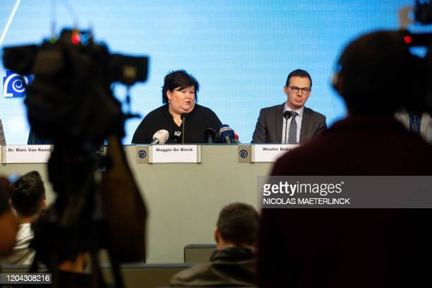 Belgian Health Social Affairs Asylum Policy and Migration minister Maggie De Block and Flemish Welfare minister Wouter Beke hold a press conference...
