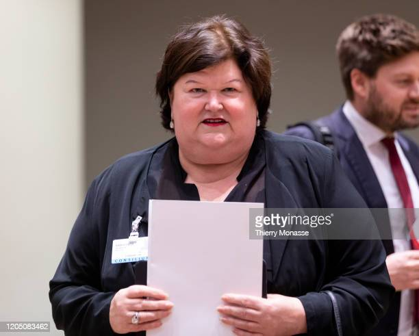 Belgian Health Social Affairs Asylum Policy and Migration minister Maggie De Block arrives for an extraordinary Justice and Home Affairs Council at...