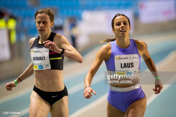 Belgian Imke Vervaet and Belgian Camille Laus pictured in action during the IFAM Indoor, IAAF Indoor Tour Bronze Athletics Meeting, Saturday 13...