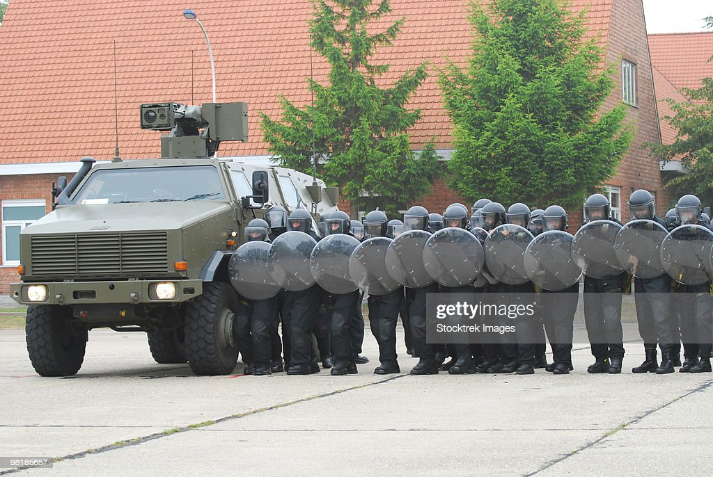 Belgian Infantry soldiers training in crowd and riot control. : Stock Photo