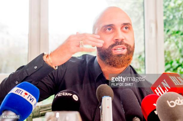 Belgian international football defender Anthony Vanden Borre annouces he signed with the congolese club Tout Puissant Mazembe during a press...