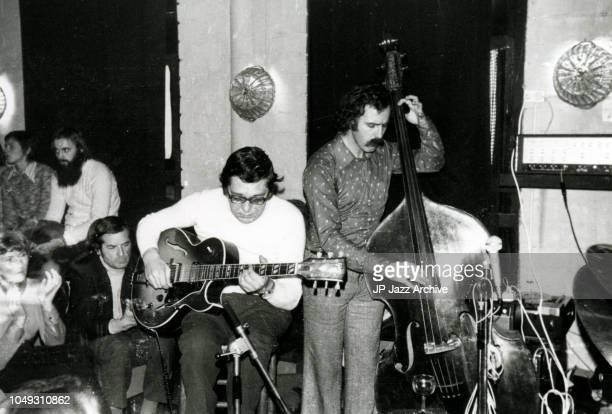 Belgian jazz guitarist Rene Thomas and Henk Haverhoek at 'De Tor' Enschede, Netherlands, 25th October 1974.