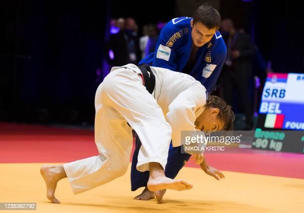 Belgian Karel Foubert and Serbian Darko Brasnjovic fight in the men's -90kg bronze medal fight during the European Judo Open in Sarajevo, Bosnia and...