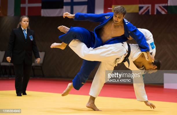 Belgian Karel Foubert pictured in action in a fight in the men -90kg category at the European Judo Open in Sarajevo, Bosnia and Herzegovina, Sunday...