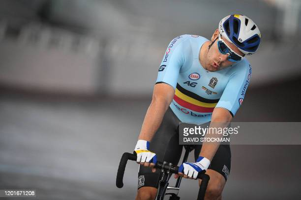 Belgian Kenny De Ketele pictured during a training session of the selected cyclists for the upcoming track cycling worlds championships Tuesday 18...