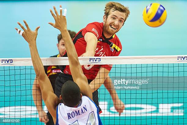 Belgian Kevin Klinkenberg attacks during the FIVB World Championships match between Belgium and Puerto Rico at Cracow Arena on September 2, 2014 in...