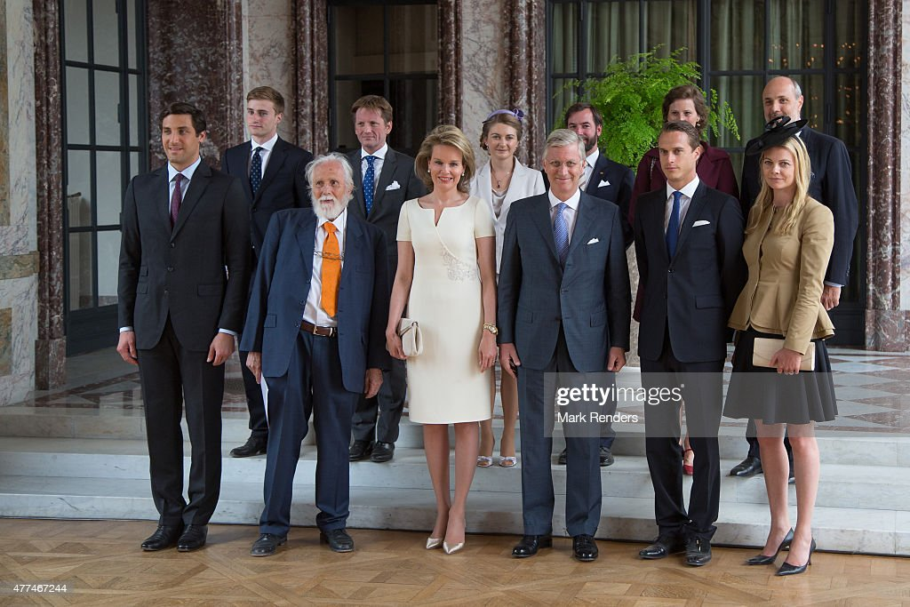 King Philippe Of Belgium And Queen Mathilde Receive Warlord Descendants From The The Battle Of Waterloo In the Laeken Castle : News Photo
