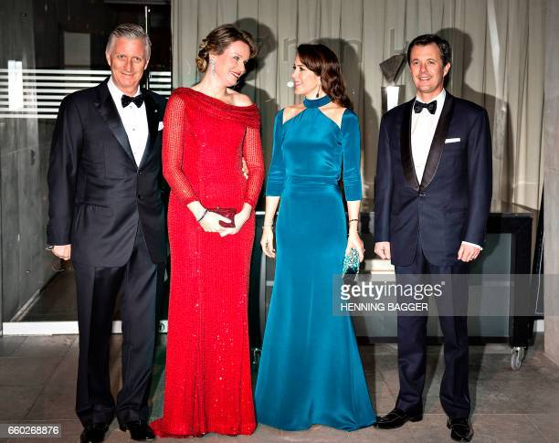 Belgian King Philippe and his wife Queen Mathilde welcome the Danish Crown Prince Frederik and his wife Crown Princess Mary upon their arrival to the...