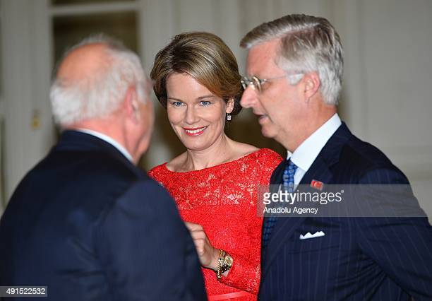 Belgian King Philippe and Queen Mathilde wait to welcome President of Turkey Recep Tayyip Erdogan and his wife Emine Erdogan prior to attend a...