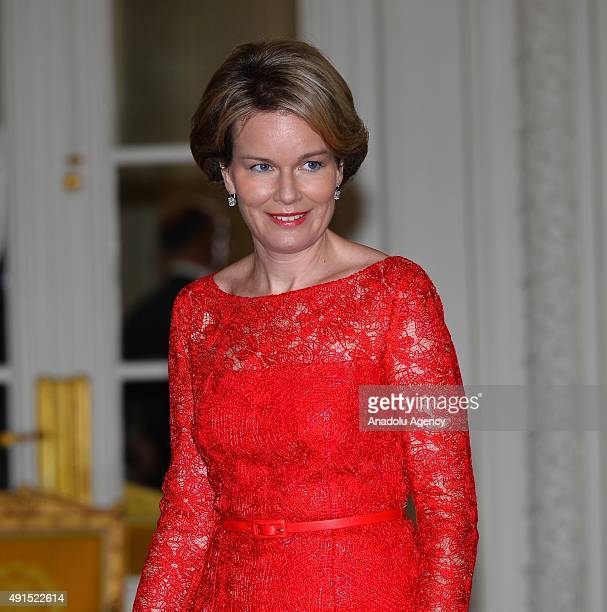 Belgian King Philippe and Queen Mathilde wait to welcome President of Turkey Recep Tayyip Erdogan and his wife Emine Erdogan to attend a luncheon at...