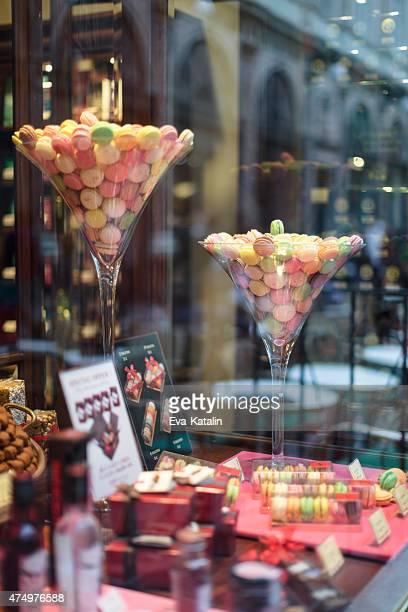 Belgian macarons in a shopwindow