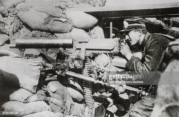 Belgian Machine Gunner in Position in Trenches World War I 1915