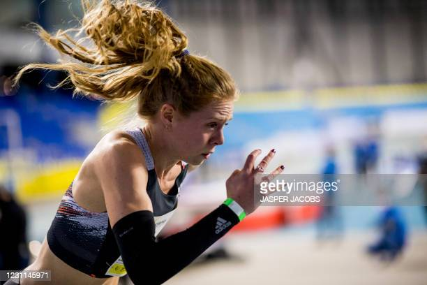 Belgian Margo Van Puyvelde pictured in action during the IFAM Indoor, IAAF Indoor Tour Bronze Athletics Meeting, Saturday 13 February 2021, in Gent....