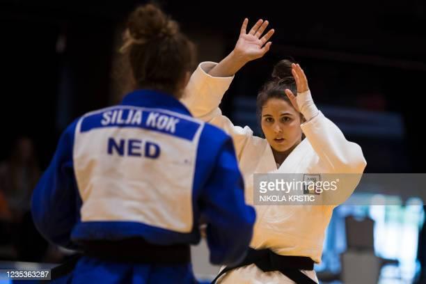 Belgian Maxine Heyns and Dutch Silja Kok fight in the women's -70kg bronze medal fight at the European Judo Open in Sarajevo, Bosnia and Herzegovina,...