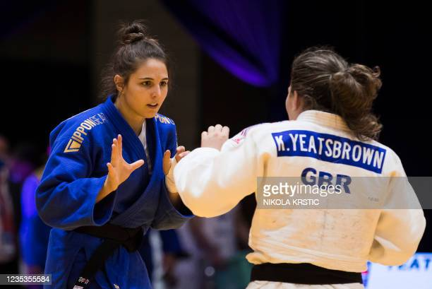 Belgian Maxine Heyns picture in a fight against Great Britain Yeatsbrown in the women -70kg category at the European Judo Open in Sarajevo, Bosnia...
