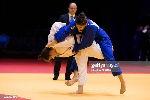 Belgian Maxine Heyns picture in a fight of the women -70kg category at the European Judo Open in Sarajevo, Bosnia and Herzegovina, Sunday 19...