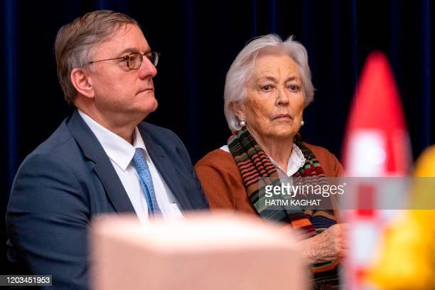 Belgian mayor of Etterbeek Vincent De Wolf and Queen Paola of Belgium visit the project 'Tintin en Belgique' at the Arts and History Museum of...