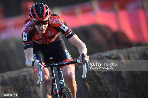 Belgian Michael Vanthourenhout pictured in action during the men's elite race at the Ethias Cross Leuven, Saturday 14 November 2020 in Heverlee,...