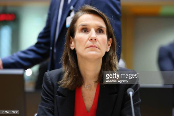 Belgian Minister of Budget Sophie Wilmes attends EU Economic and Financial Affairs Council in Brussels Belgium on November 17 2017