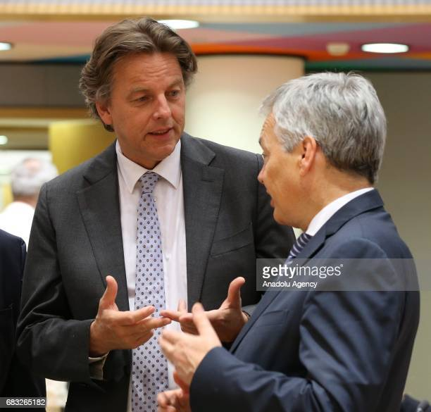 Belgian Minister of Foreign Affairs Didier Reynders and Bert Koenders Minister of Foreign Affairs of the Netherlands attend the EU Foreign Affairs...
