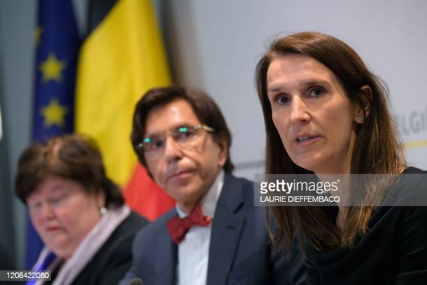 Belgian Minister of Health Social Affairs Asylum Policy and Migration Maggie De Block Walloon Minister President Elio Di Rupo and Belgian Prime...