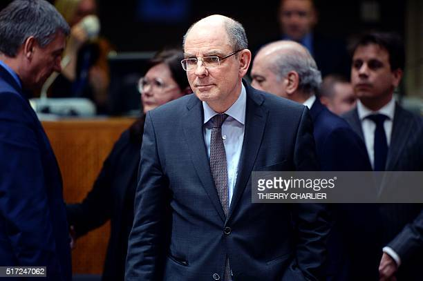 Belgian Minister of Justice Koen Geens looks on before an 'Extraordinary meeting of ministers for Justice and Security and representatives of the EU...
