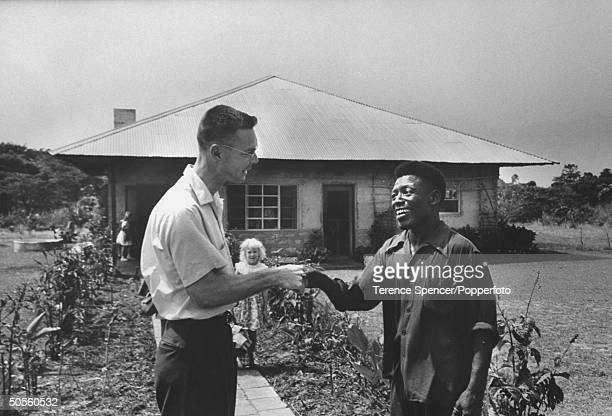Belgian missionary saying goodbye before leaving the congo.