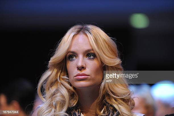 Belgian model Jade Foret fiance of French media group Lagardere Chief Executive Arnaud Lagardere arrives to attend Lagardere general meeting in Paris...